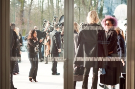 The mass of paparazzi outside the doors