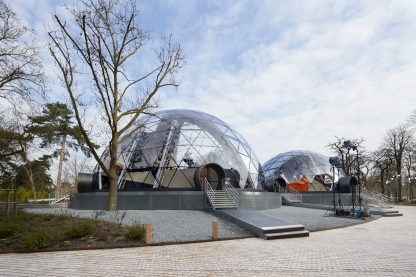 'Igloo' structures designed by Es Devlin before the show