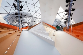 Inside the 'Igloo' before the show