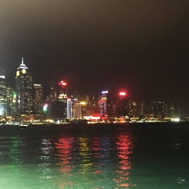 Looking out at Victoria Harbour and Hong Kong Island