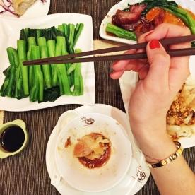 Dim sum, BBQ pork buns and bok choi